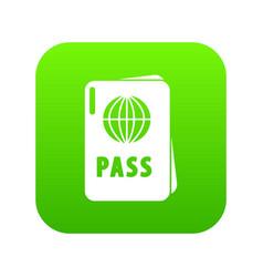 international passport icon green vector image