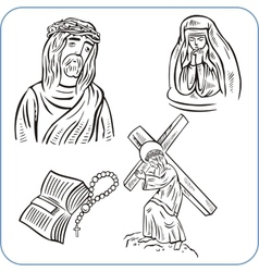 Jesus Christ and bible vector image