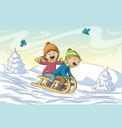 kids go sledging vector image