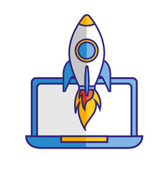 laptop computer rocket startup success vector image