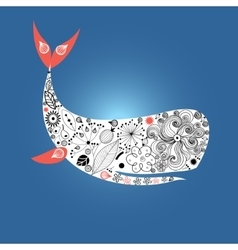 Large ornamental whale vector image