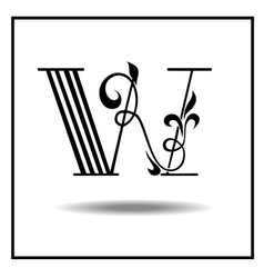 Letter W made with leaves vector image