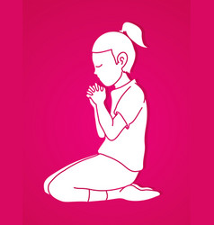 Little girl praise god prayer christian praying vector