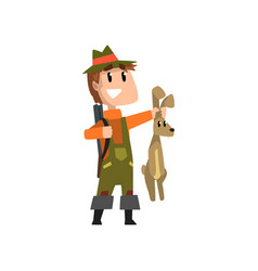 male hunter with rifle holding hare hobby or vector image