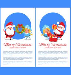 merry christmas happy new year santa snow maiden vector image