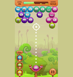 Mobile bubble shooter game screen vector