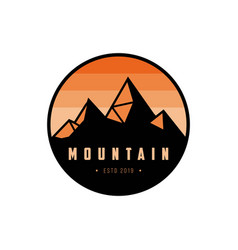 mountain badge logo design template vector image