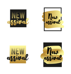 New arrival labels set golden textured elements vector