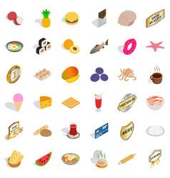 Nice food icons set isometric style vector