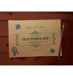 old template on the wooden background vector image