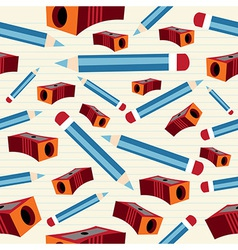 Pencil and sharpener pattern vector image