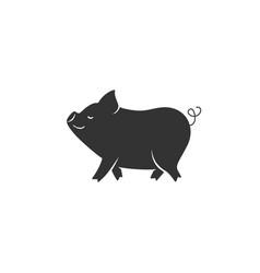 pig silhouette black vector image