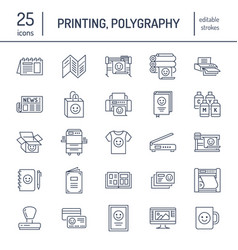 Printing house flat line icons print shop vector