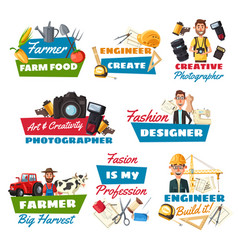 professions icons with farmer builder and tailor vector image