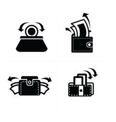 Put down money in wallet set icon vector