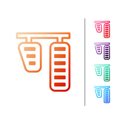 Red line car gas and brake pedals icon isolated on vector