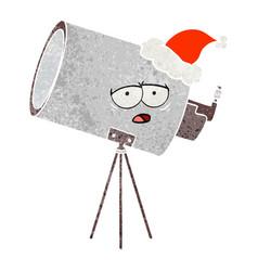 Retro cartoon of a bored telescope with face vector
