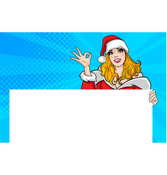 santa woman showing okay gesture action with vector image