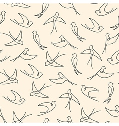 Seamless pattern made of one line swallows vector image