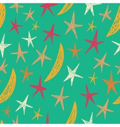 Seamless pattern with stars and moons Starry vector image