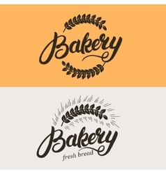 set bakery and bread logo vector image