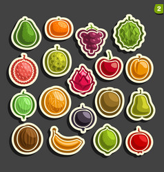 Set icons fruits and berries vector