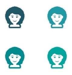 Set of paper stickers on white background women vector