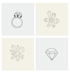 set with crystal ring mineral diamond for print vector image