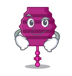 Smirking paper lantern character cartoon vector