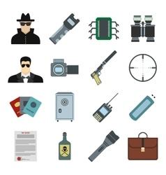 Spy flat icons vector image