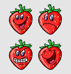 strawberry fruit emoticon icon cartoon character vector image