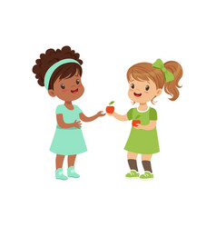 Sweet girl giving an apple to another girl kids vector