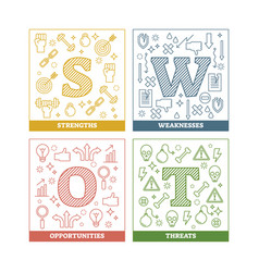 swot analysis principle diagram vector image