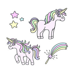 unicorn and magic wand element set vector image