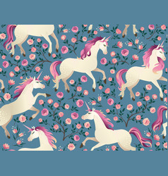unicorns on background with a fairy forest vector image