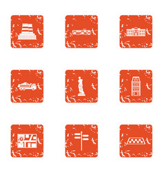 urban movement icons set grunge style vector image