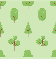 various tree cartoon drawing on green background vector image