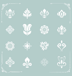vintage set of white elements vector image
