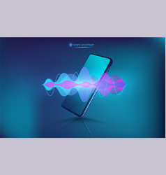 Voice assistant on smartphone vector