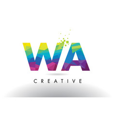 Wa w a colorful letter origami triangles design vector