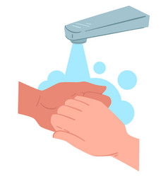 washing and rubbing hands hygiene and protective vector image