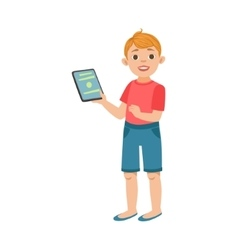 White Teenage Boy With Tablet Part Of Growing vector image