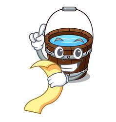 With menu wooden bucket mascot cartoon vector