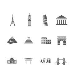 world landmarks silhouette icons set vector image