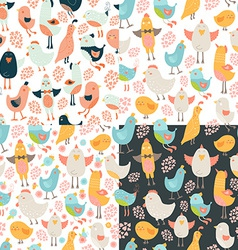 Cute birds seamless background set vector image vector image