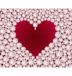heart on diamond background vector image