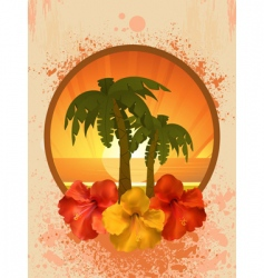 hibiscus flowers and palm trees vector image vector image