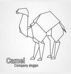 origami logo contour camel vector image vector image