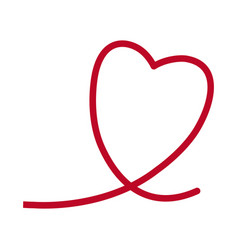 red heart romantic lovely symbol line vector image vector image