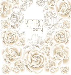 Retro party white flowers background vector image vector image